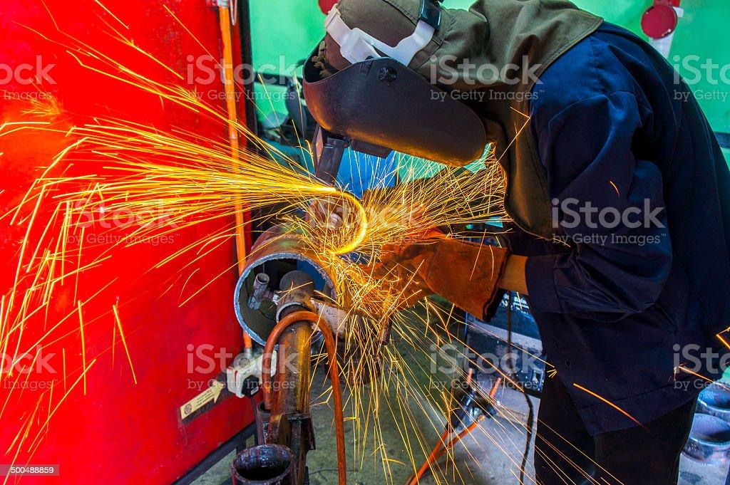 welder at workshop royalty-free stock photo