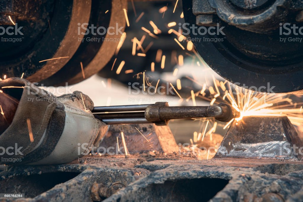 welder, craftsman, erecting technical steel Industrial steel welder in factory technical, stock photo