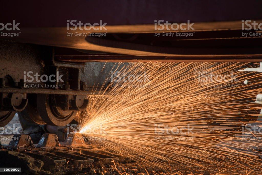 welder, craftsman, erecting technical steel Industrial steel welder in factory technical, stock photo