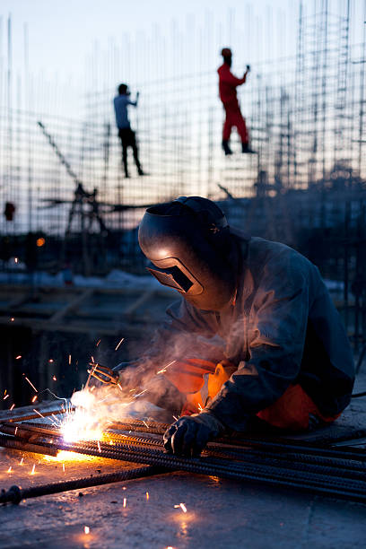 Welder does the job stock photo