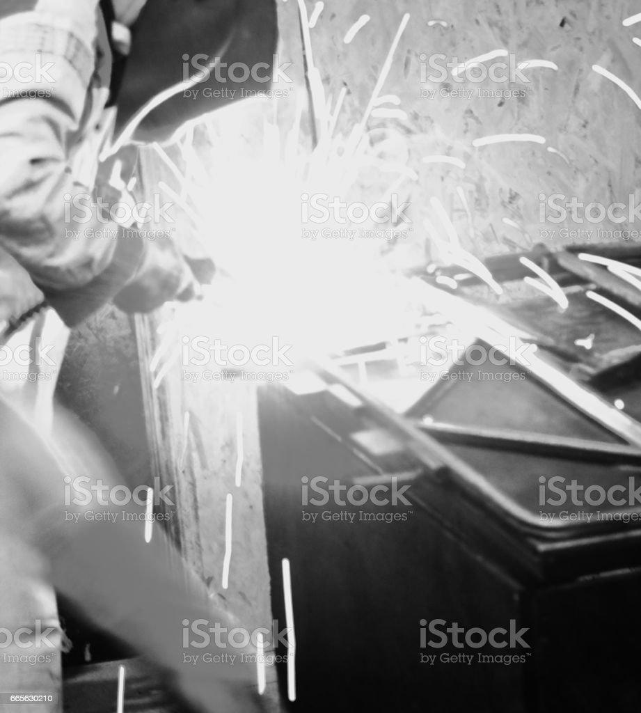 Welder engineer workshop stock photo