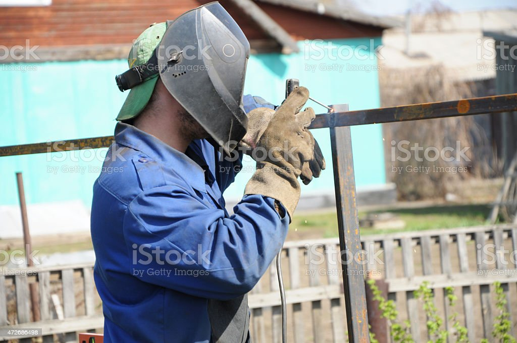 welder forging stock photo