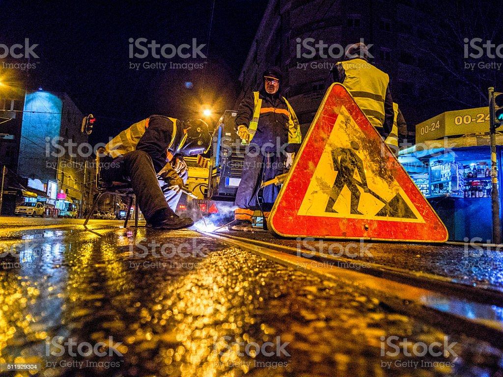 Schweißer lang der Straße – Foto