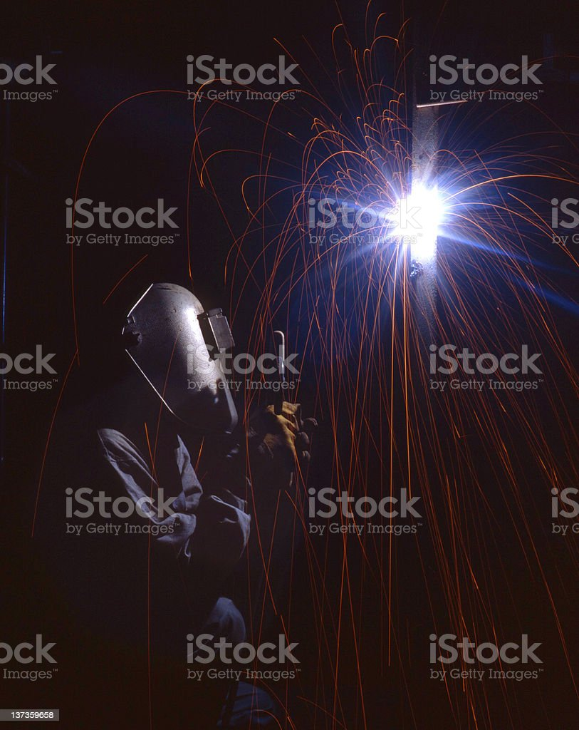 Welder Spark stock photo