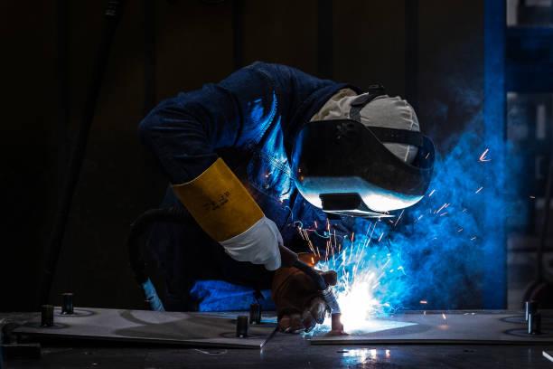 Welder - welding aluminum alloy - metal inert gas, metal active gas 2 stock photo