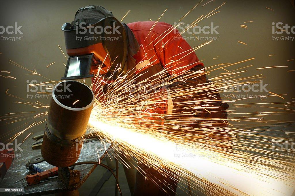 Welder works sparkle stock photo