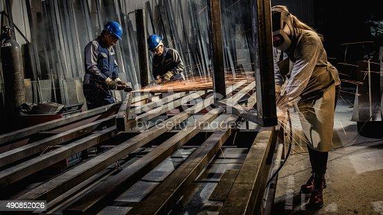 istock Welders working in workshop 490852026