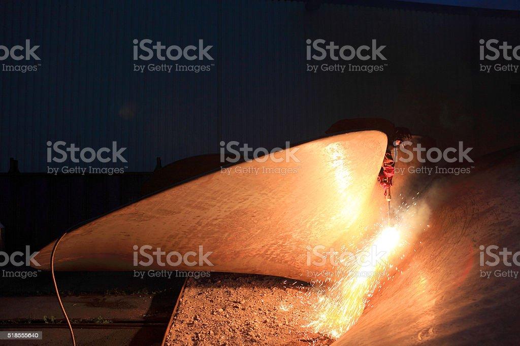 welding a ship propeller stock photo