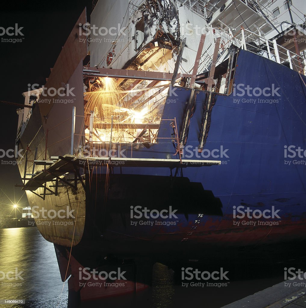 welding at a shipyard stock photo