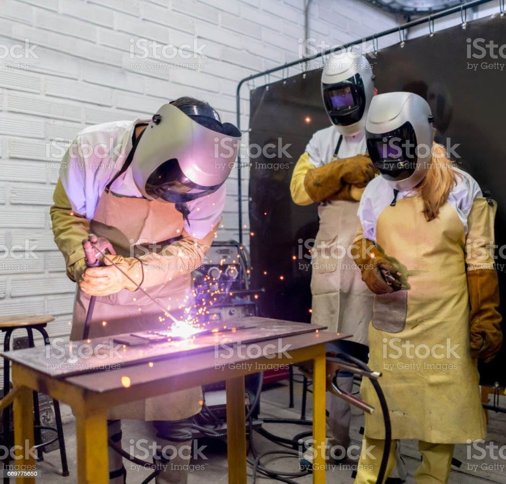 Welding class at college stock photo