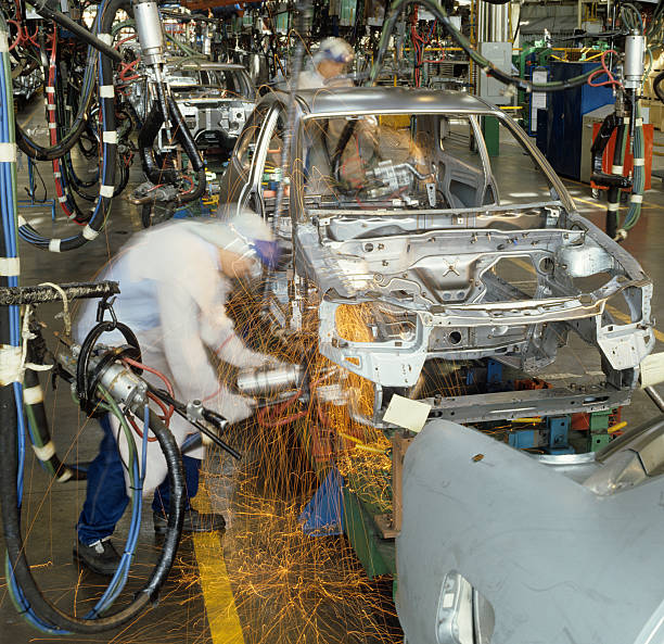 Welding during the production line of an automobile  stock photo