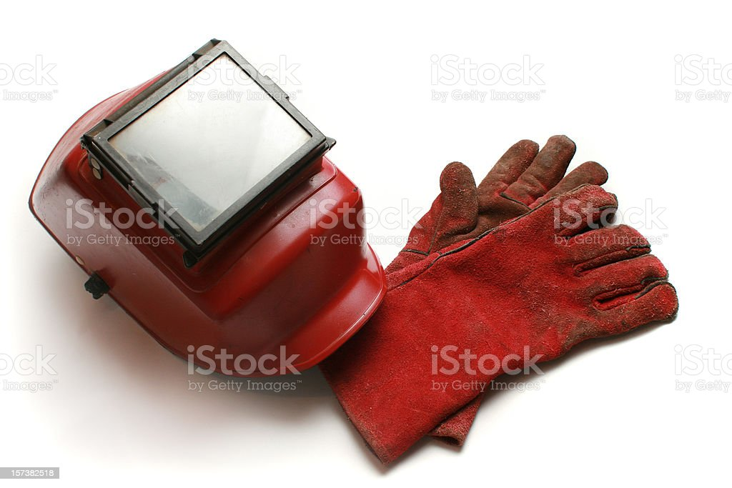 welding helmet and gloves royalty-free stock photo