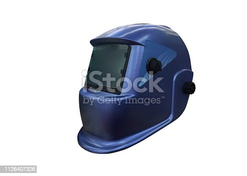 image of welding helmet isolated on a white background