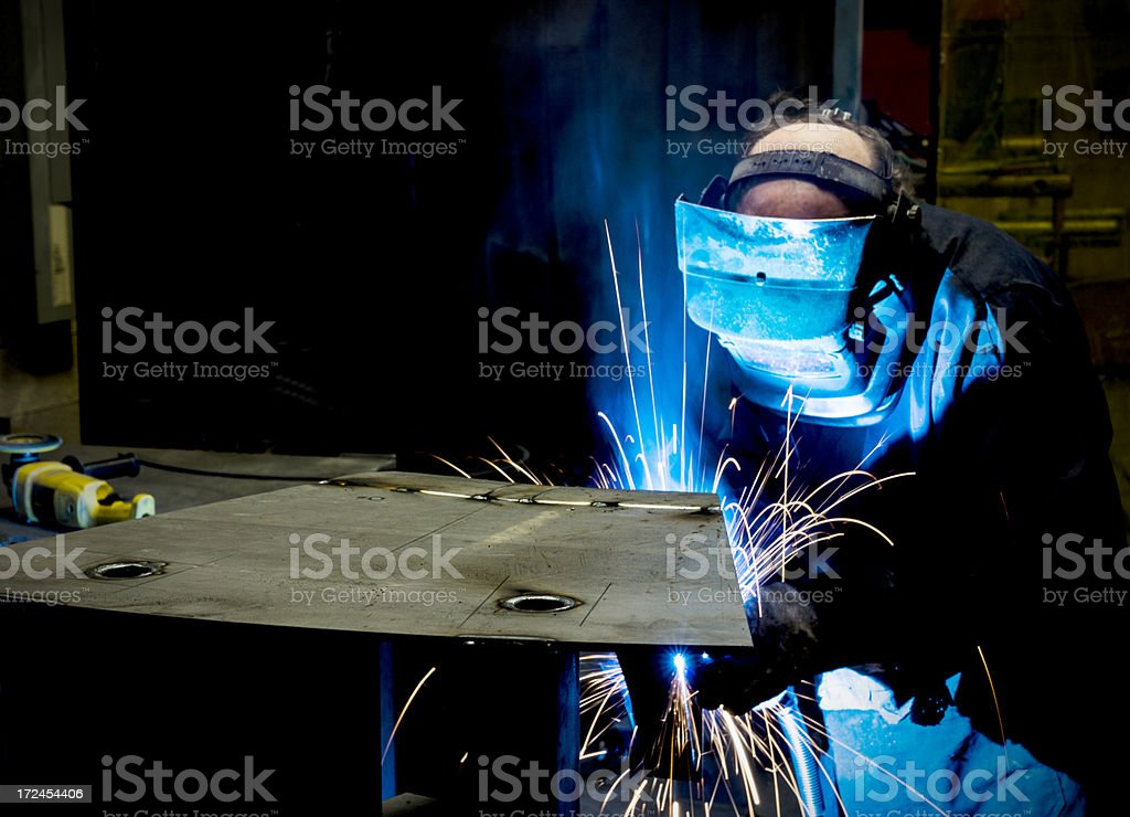 Welding in a metal manufacturing plant. royalty-free stock photo