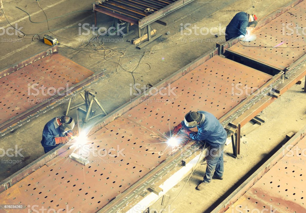 welding large structure stock photo