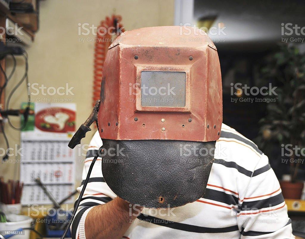 welding mask - Schweißermaske royalty-free stock photo