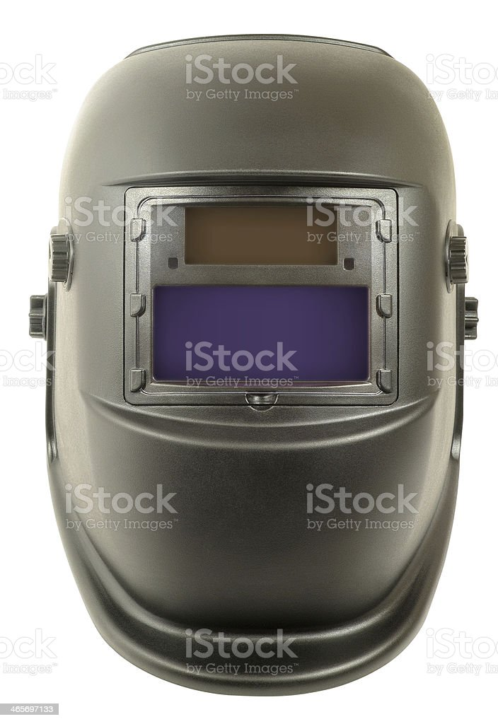 Welding mask with light-sensitive element - the chameleon stock photo