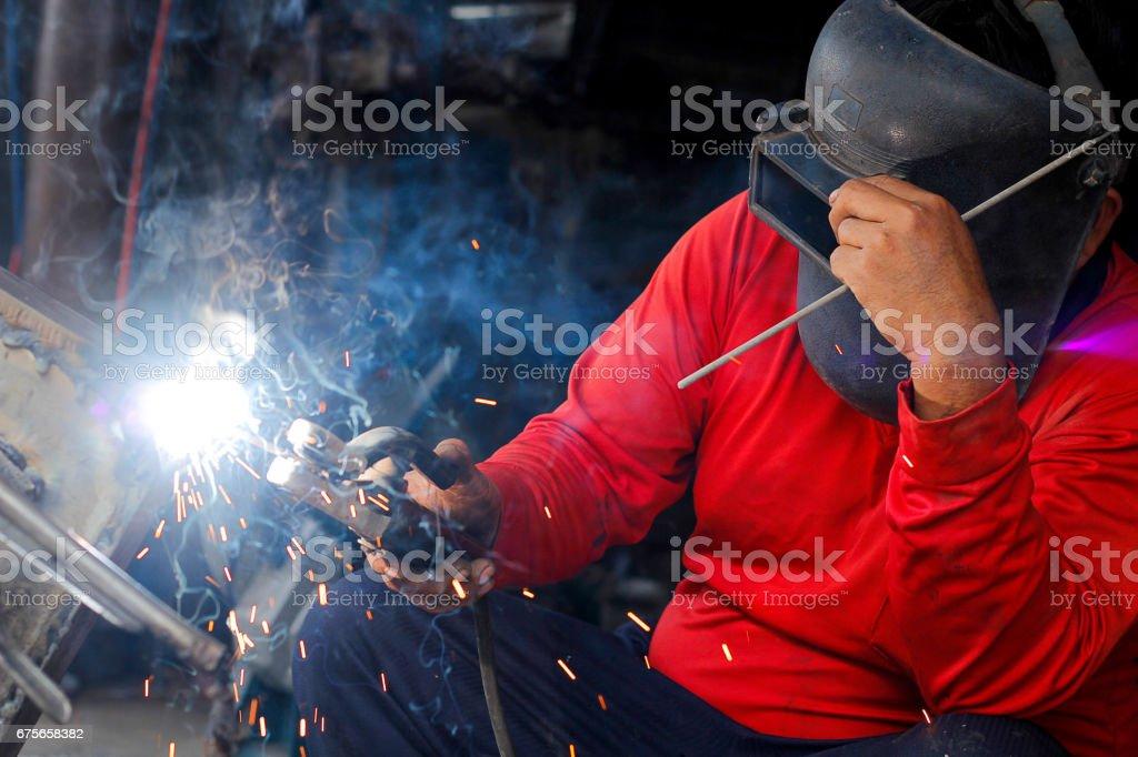Welding  pieces of metal. stock photo
