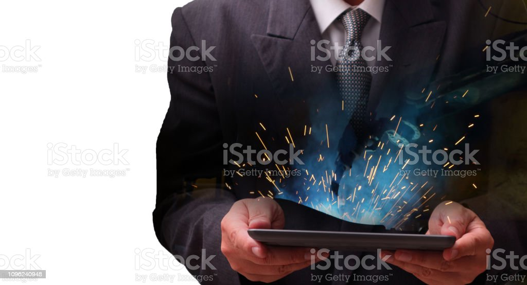 welding robot  in the automotive stock photo