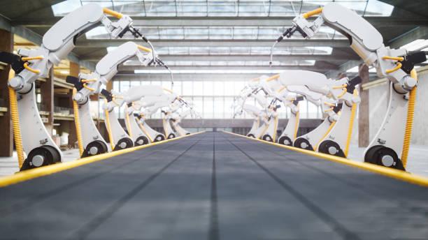 robots de soldadura y cinta transportadora en la fábrica automatizada - robot fotografías e imágenes de stock