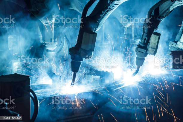 Welding robots movement in a car factory picture id1054184002?b=1&k=6&m=1054184002&s=612x612&h=v1yacvrjozx8hauymcs5msvlmdhrbrd4sio8rsbx17u=