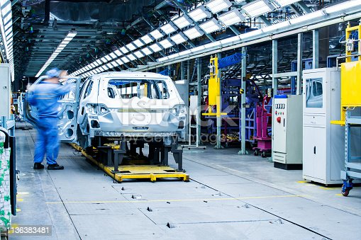 846859964 istock photo Welding robots movement in a car factory 1136383481