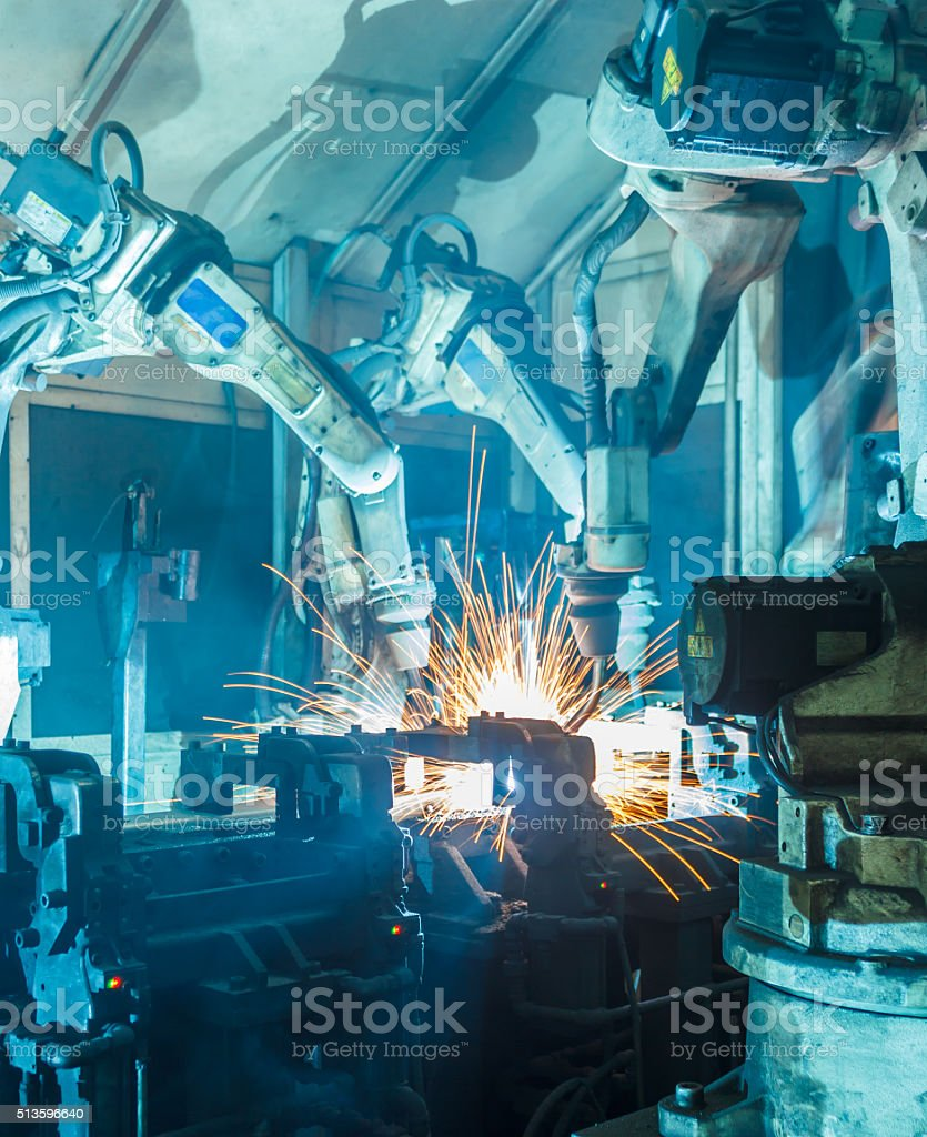 Welding robots stock photo