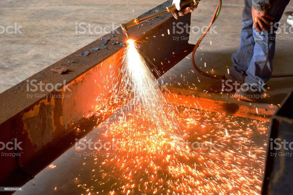 Welding Sparks Of Beam Steel From Welding Technician Or Sparks Cut Steel With Fire Gas Stock Photo Download Image Now Istock