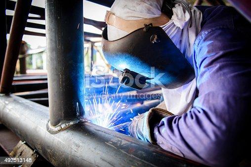 istock Welding steel structure 492513148