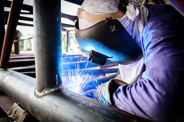 Welding steel structure stock photo