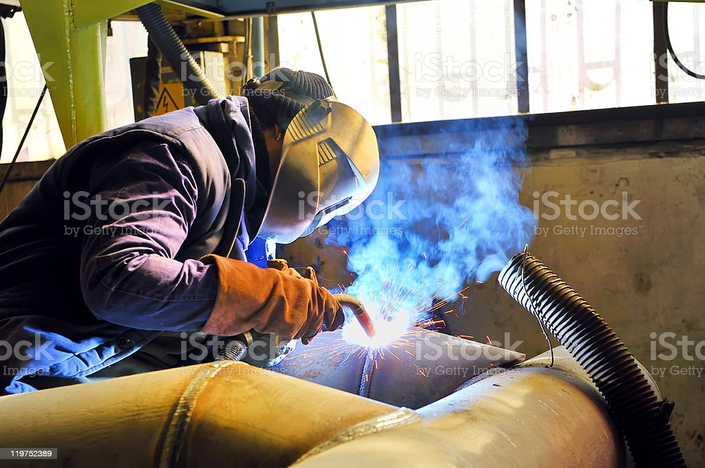 welding with mig mag method stock photo