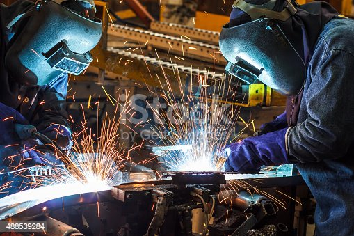 istock Welding with sparks 488539284