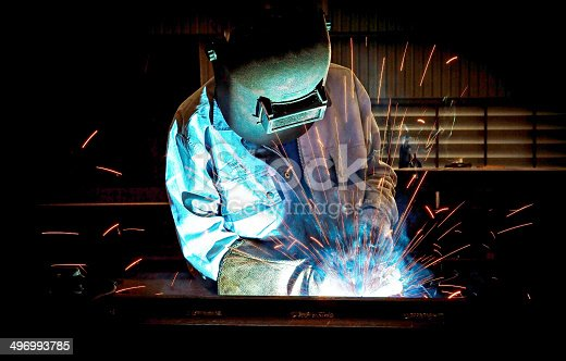 istock Welding with sparks 496993785
