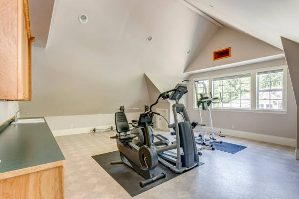 Well appointed home gym with vaulted ceiling stock photo