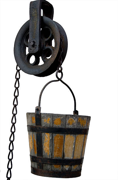 Well Bucket and Pulley stock photo