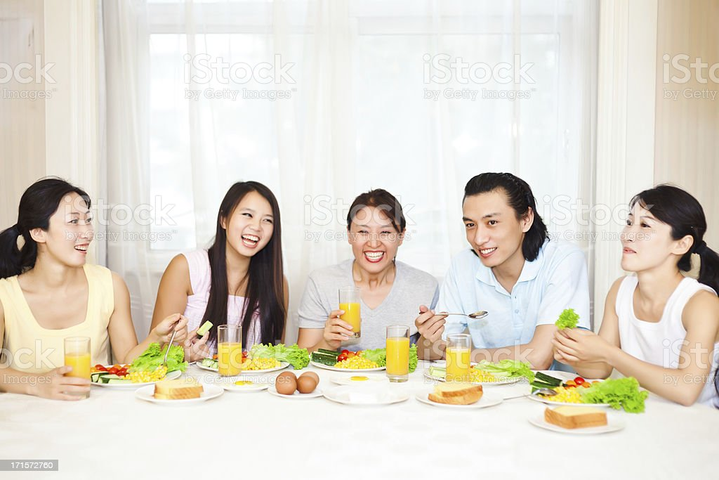 Well communication in breakfast royalty-free stock photo
