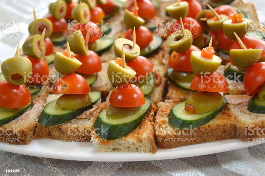 Gut Ausgestattete Küche Kanapees Kalte Platten Buffet Stockfoto