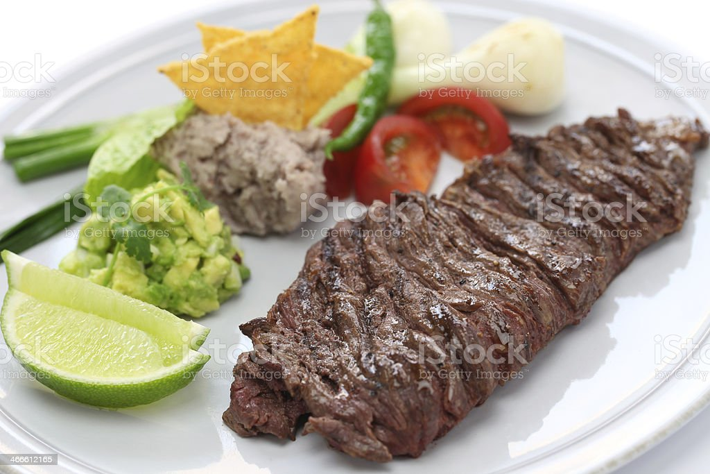 Well done skirt steak with Mexican side dishes stock photo