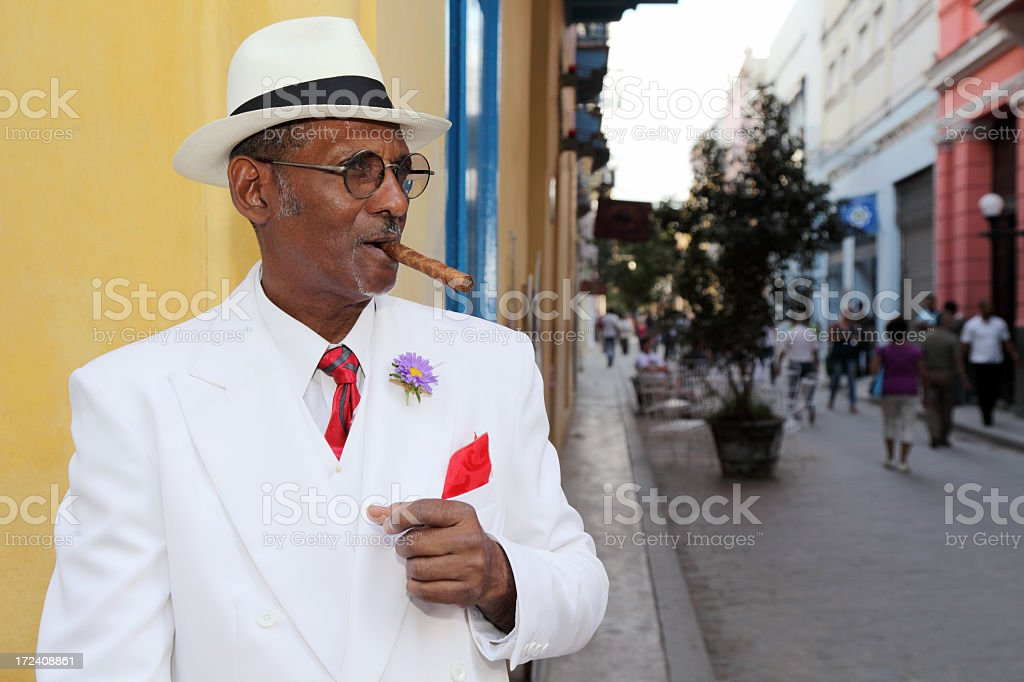 Well dressed Cuban with cigar royalty-free stock photo