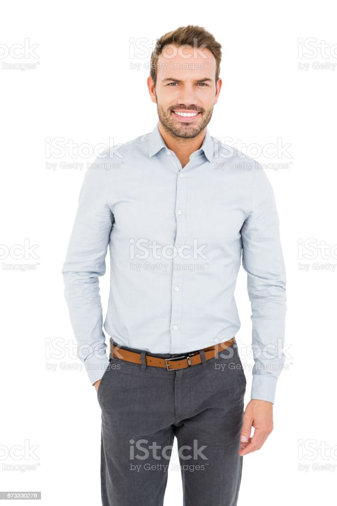 Well dressed young man smiling at camera royalty-free stock photo