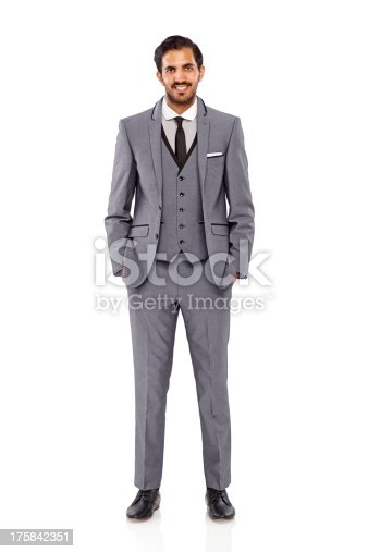 Full length image of well dressed young man standing over white background