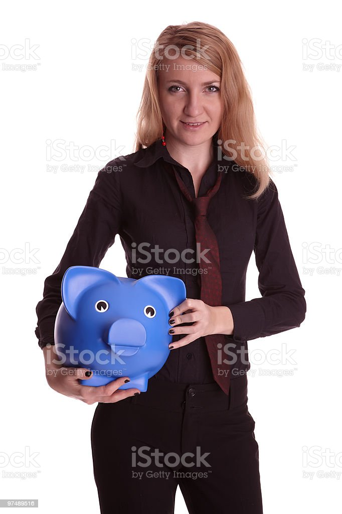 Well dresses woman with piggy bank royalty-free stock photo