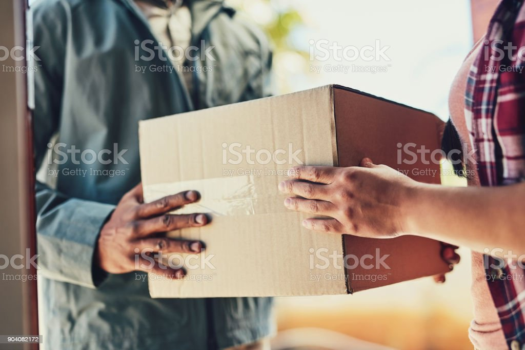 We'll ensure it gets to you with speed stock photo