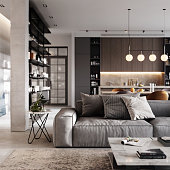 Render image of a luxurious and modern living room interiors. Well furnished living Room in 3D.