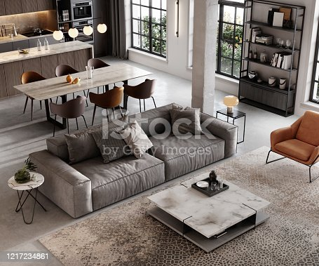 3D rendering of a well furnished living room. Large and luxurious interiors of a modern living room with lounge area and dining space.