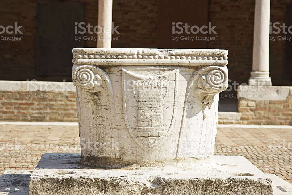 Well in Madonna dell'Orto Church cloister. Venice royalty-free stock photo