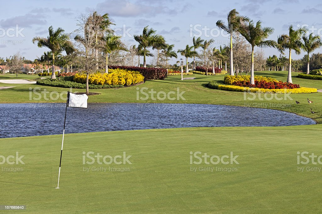 Well kept golf course in a Florida golf community stock photo