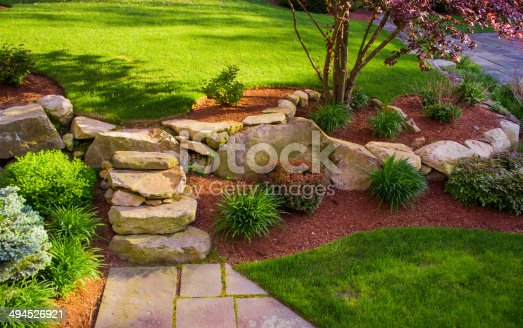 istock Well landscaped rock stairs and rock wall 494526921