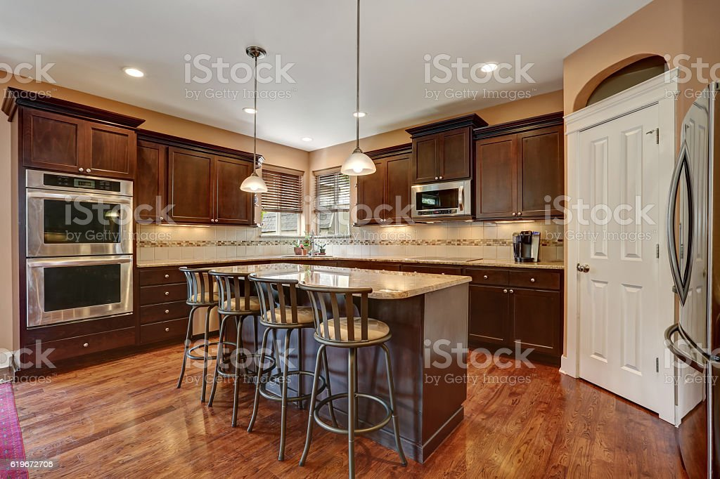 Well Remodeled Kitchen Room Interior With Dark Wood Cabinets Stock Photo Download Image Now Istock