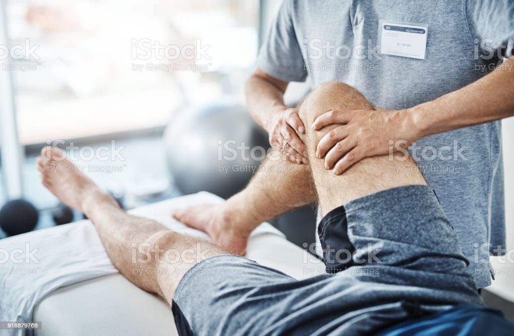 We'll sort out these sprains and strains stock photo